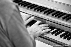 Zoom della mia mano sulla tastiera dell'organo.