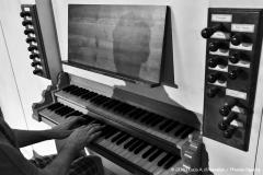 Sono seduto alla console dell'organo; Ripresa delle mani sulla tastiera e della mia ombra riflessa nel pannello posizionato sopra i due manuali.