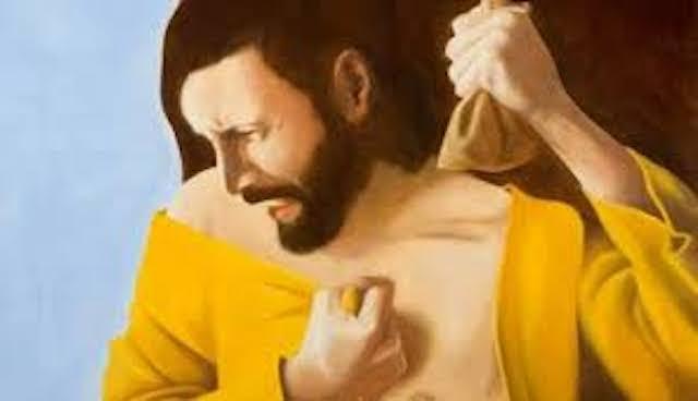Raffigurazione di un dipinto che rappresenta Giuda nell'atto di prendere i 30 denari