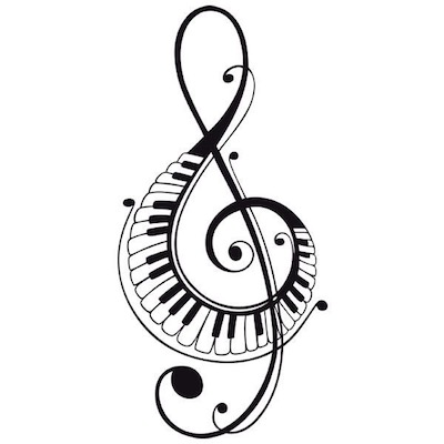 Riproduzione grafica della chiave di sol contornata dai tasti di un pianoforte