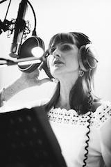 Ripresa di lorena in studio di registrazione