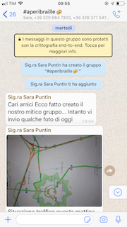 Screenshot di una schermata Whatsapp.