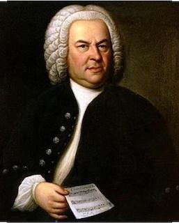 Dipinto del celebre genio della musica Johan Sebastian Bach. Egli è vestito con un elegante casacca blu dai bottoni argentati, porta uno dei tipici parrucchini che si usavano indossare in quell'epoca. Nella sua mano destra si intravede uno spartito musicale.