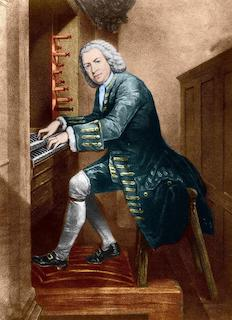 Dipinto di Johan Sebastian Bach rappresentato di profilo mentre suona un organo a due manuali. Vestito con una lunga casacca blu, calze bianche e scarpe nere, sembra scrutare le persone che osservano il ritratto con sguardo corrucciato e leggermente diffidente.
